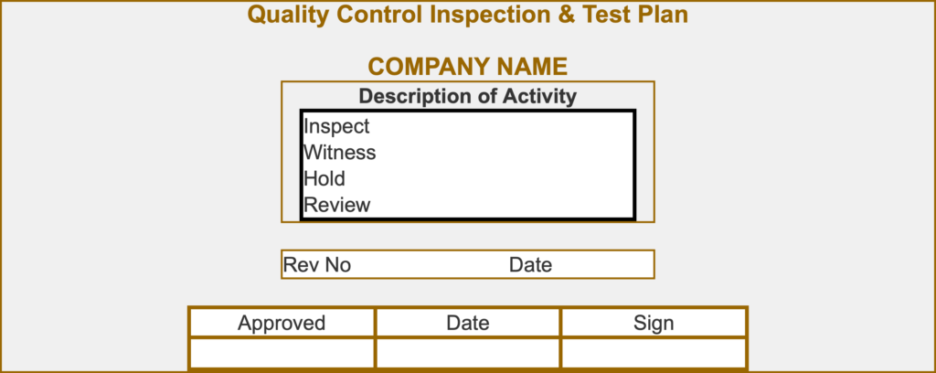 A project Quality Control Inspection Test Plan